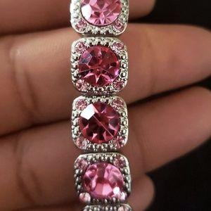 Pink and Silver Stretch Bracelet